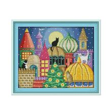 The Cat City Patterns Counted 11CT Printed 14CT Cross Stitch Kits Joy Sunday DIY Embroidery Needlework Set for Home Decor K476 sound city 2018 sunday