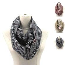 Клетчатый зимний шарф с карманом, вязаный теплый трансформер, женская и мужская накидка с потайной карман с молнией infinity