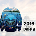 High quality boy baseball clothing 3D digital three-dimensional printing pattern round neck sweater Hip-Hop clothing 12-18 years