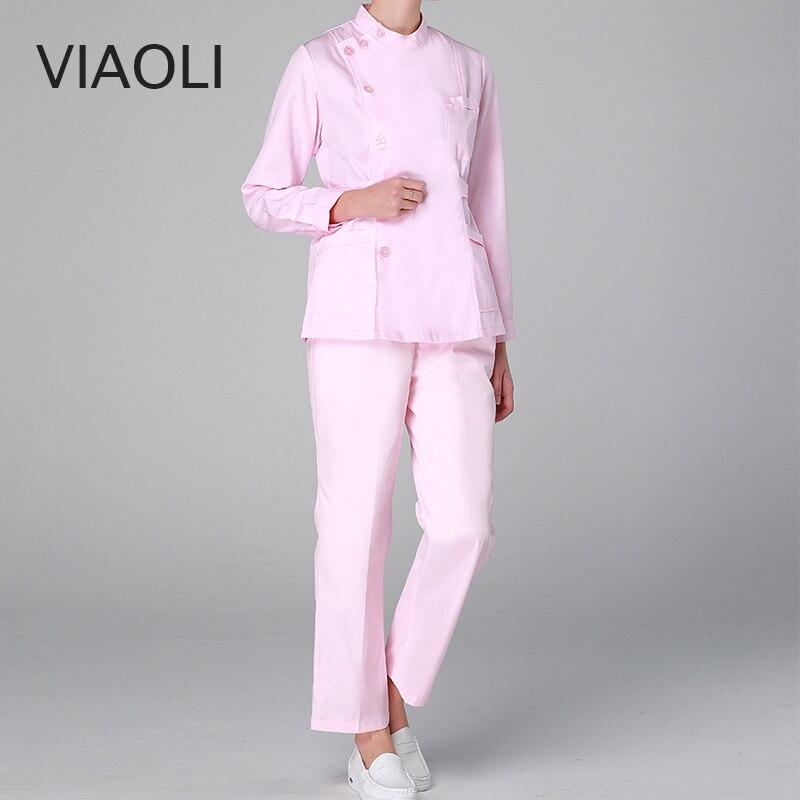 Viaoli Hospital Medical Slim Fit Long Pants Fashionable Design Scrubs Beauty Salon Nurse Work Pants