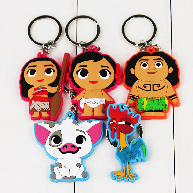 6cm Princess Moana Keychain Figure Toy Doll Bag Pendant Moana Maui Pua HeiHei Little Moana Toy