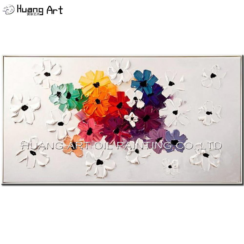 Ručně malované bílé a barevné nože květiny olejomalba moderní tlustý olej obrázky umění pro pokoj dekor plátno čerstvé obrazy