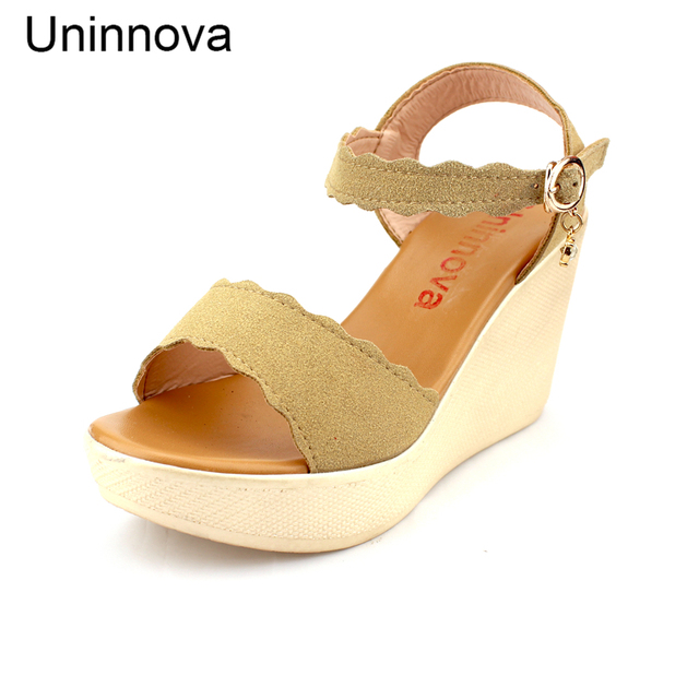 61e945094be839 Women s Wedge High Heeled Sandals Comfortable Leisure Summer Shoes Extral  Small Size 32 Lightweight Uninnova WSA015