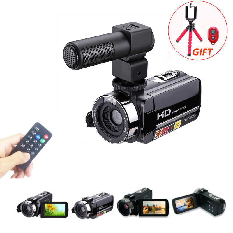 "Digital Video Camera with Mic Remote Control HD Digital Camera Camcorder IR 16x Zoom DV 3.0"" TFT Screen Professional Webcam"