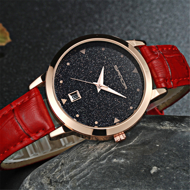 2017 Luxury Brand Women Watches Fashion Dress Ladies Watch Rose gold Star dial Design Leather Strap Quartz Watch Clock Women
