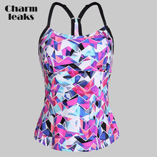 Charmleaks Two-Piece Separates Top Women Swimwear Flower Printed Swimsuit Top Backless Bathing Suit Beach Wear stylish flower hit color halter backless two piece swimsuit for women