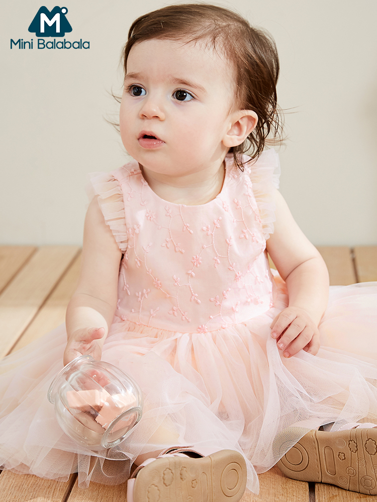 Mini balabala2019 summer new baby girls dress mesh tutu sleeveless top grade dresses princess clothing(China)