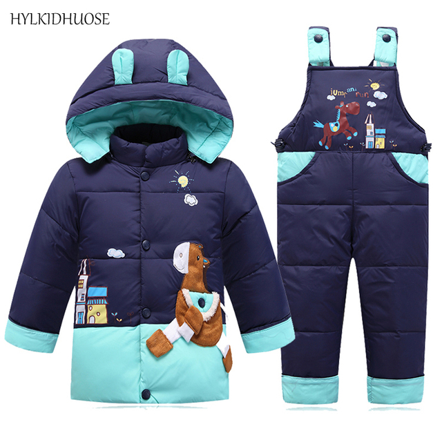 57eff7d25068 HYLKIDHUOSE Hot Sale Infant Clothes Sets Baby Girls Boys Down Suits Warm  Windproof Coats+Pants