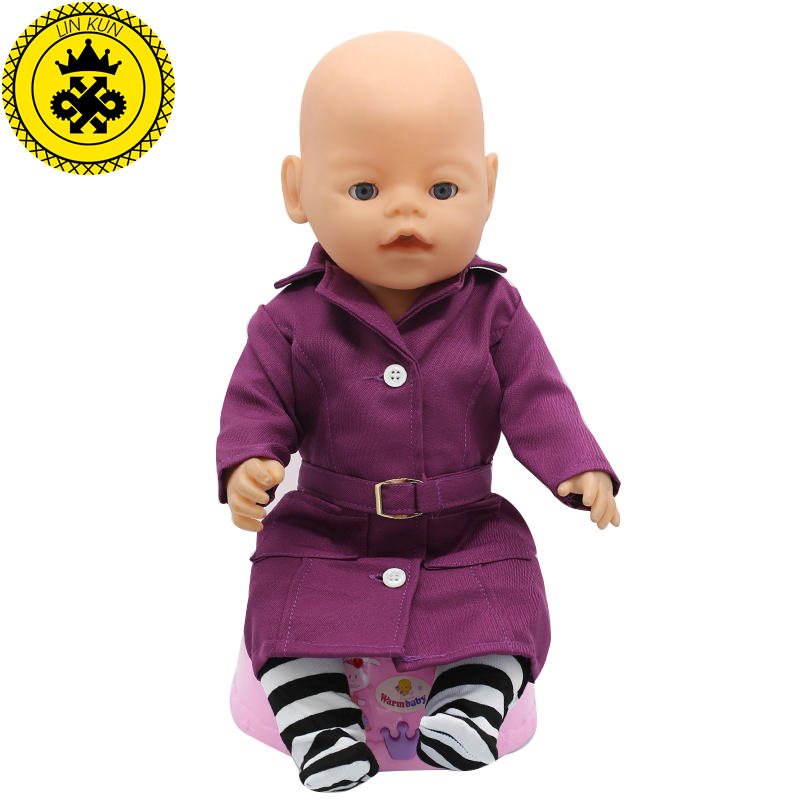 Zapf Baby Born Doll Clothes Deep Purple Coat Socks Sets