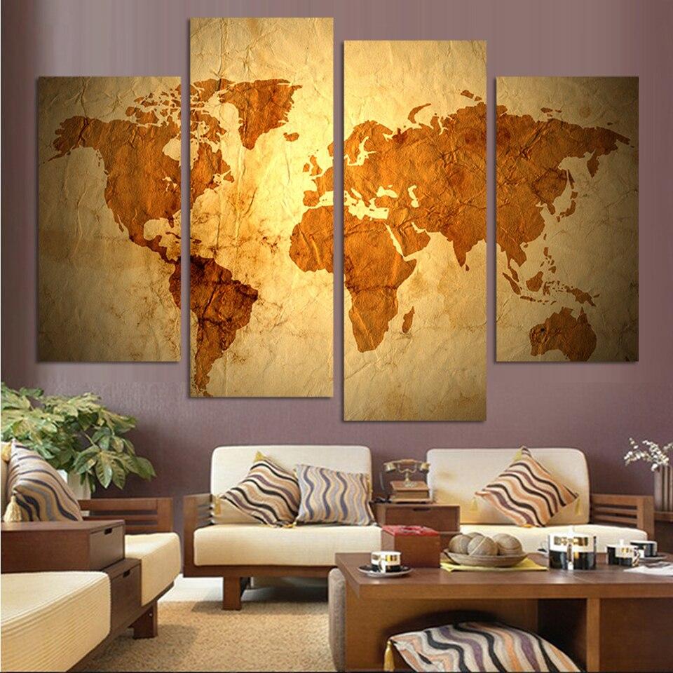 Modern Painting For Living Room Aliexpresscom Buy 4 Panels Antique Golden Map Cnavas Painting