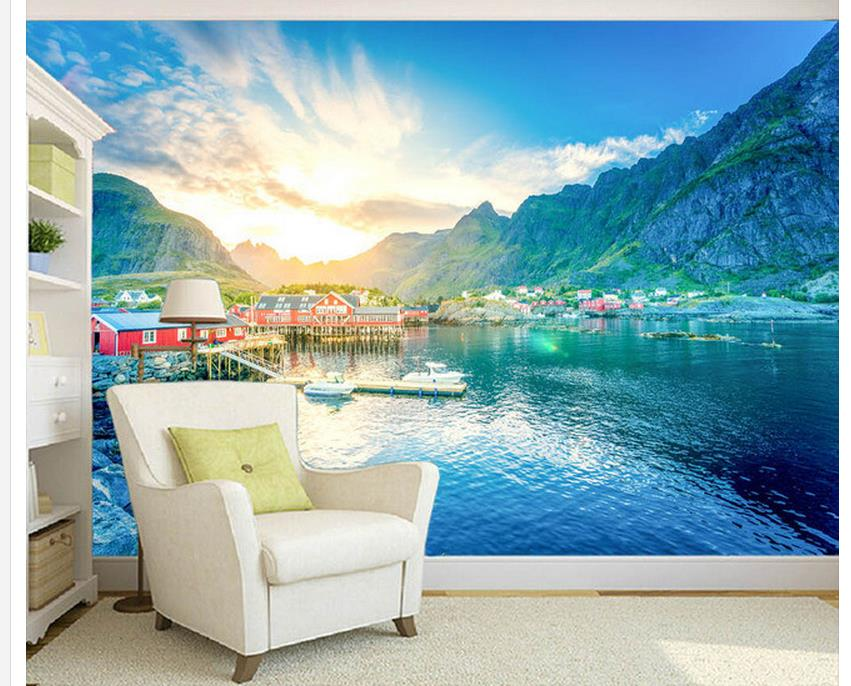 lake scenery television background decorative painting window