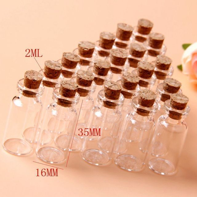 2ml Clear Mini Small Cork Stopper Gl Vial Jars Containers Bottles