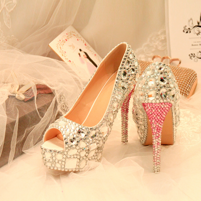 цены Crystal Wedding Peep Toe Shoes Silver Bride Women Diamond Ultra Sexy Thin High Heel Rhinestone Party Pumps Shoes Big Size 43