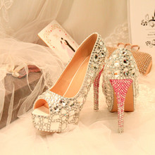 Crystal Wedding Peep Toe Shoes Silver Bride Women Diamond Ultra Sexy Thin  High Heel Rhinestone Party Pumps Shoes Big Size 43 8c1257ba2d4b