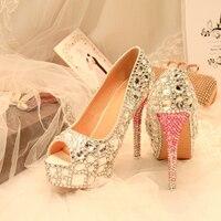 Crystal Wedding Peep Toe Shoes Silver Bride Women Diamond Ultra Sexy Thin High Heel Rhinestone Party Pumps Shoes Big Size 43