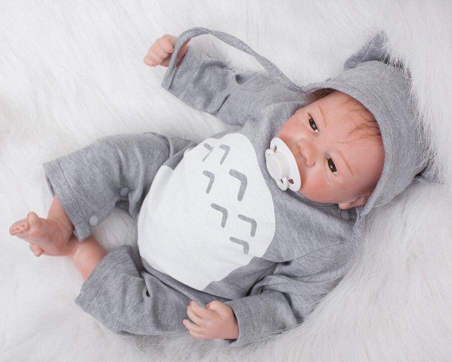 18inch Handmade 18Reborn Baby Doll Boy Realistic Infant FULL BODY SILICONE With A Pacifier fot Nursery train kindergarten