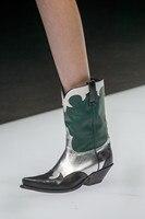 Новинка 2018 г., зимние ботинки зеленого цвета, обувь на высоком каблуке, ботинки с острым носком, Короткие повседневные кожаные ботинки