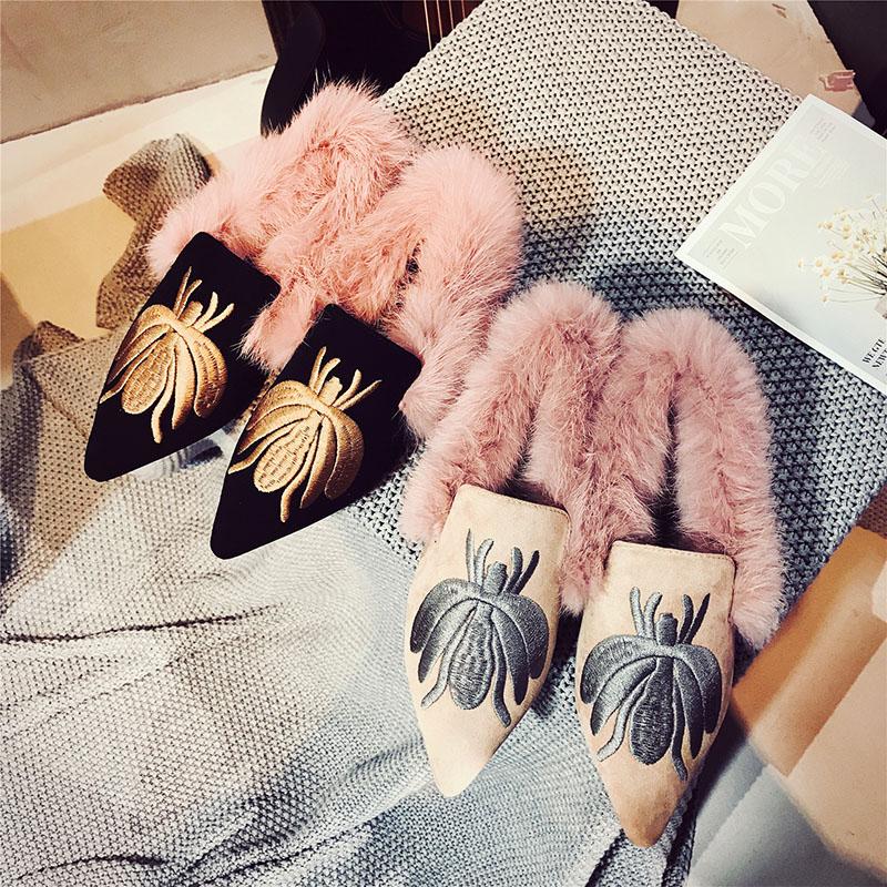Paresseux De noir Pointu Espadrille Hiver Fourrure Broder Chaussures Beige Mocassins Plat Femme 100 Dames Femmes Bout Microfibre dc7BRc