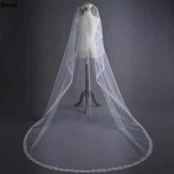 Mrs Win 3M Wedding Veil With Sequin Applique Edge Velos Y Capas De Novia Voile De Mariee Long Bridal Veils Accessory White C image