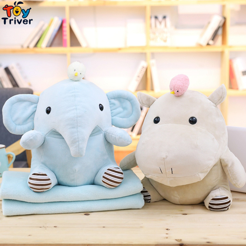 Plush Hippo Elephant Portable Blanket <font><b>Toy</b></font> Doll Baby Kids Shower Car Air conditioning Travel Rug Office Nap Carpet Birthday Gift