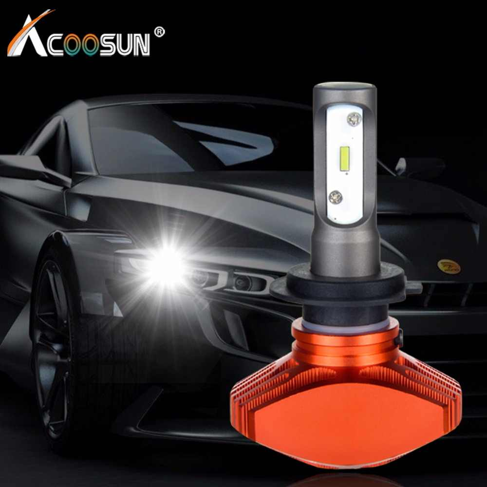 AcooSun H4 Led Car Fanless Bulb H7 Led Auto headlight H1 H11 Fog Lamp 6500K DC12V 9006 Led CSP Chips 80W/set 9005 LED Auto Light