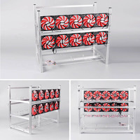 12 GPU Mining Rig Aluminum Computer ETH Open Air Stackable Case Frame For Bitcon Miner Kit