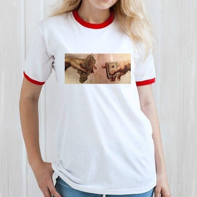 Fashion Show-XSX Hand of God Funny Drug Deal Printed Tshirt Summer Fashion Woman Slim Fit T Shirt Crest Design TShirt for Woman