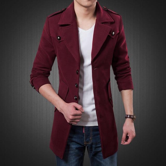 Free shipping 2015 Hot male medium-long woolen overcoat trench wool coat male