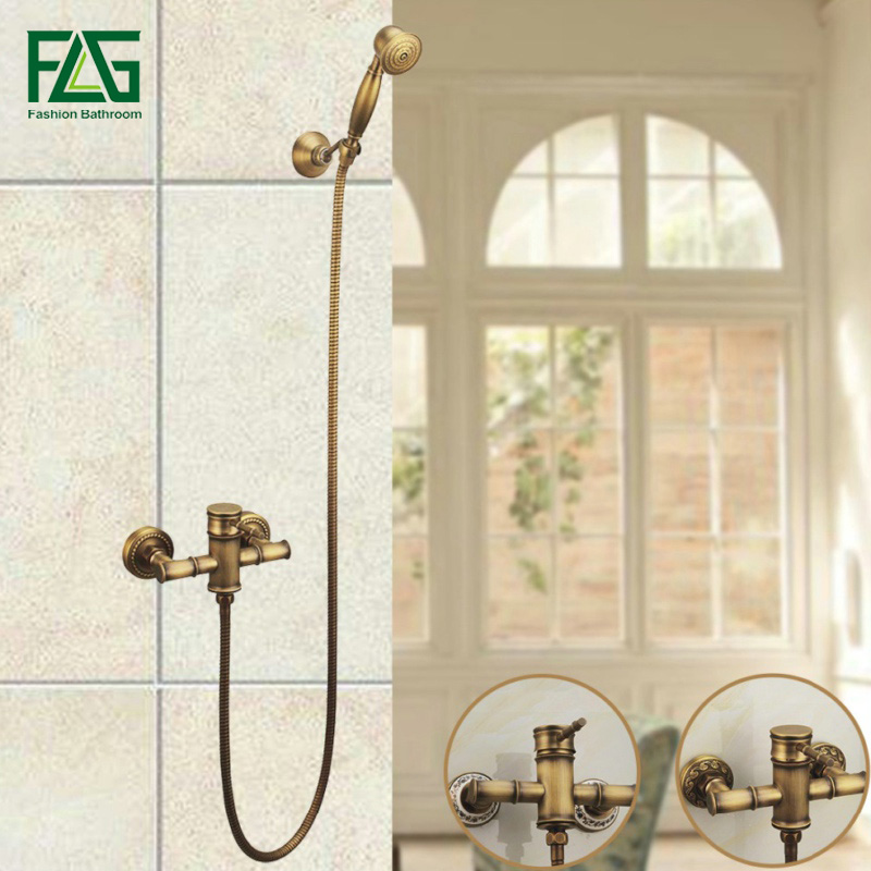 FLG Free Shipping Luxury Antique Style Soild Brass Bamboo Bath Tub Faucet W/ Handheld Shower Head Faucet Mixer Tap Wall Mounted shower faucet wall mounted antique brass bath tap swivel tub filler ceramic style lift sliding bar with soap dish mixer hj 67040