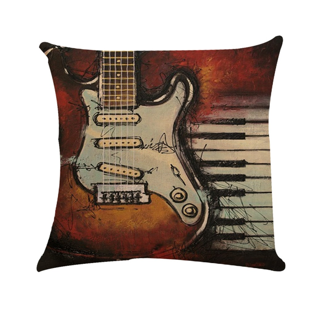"18/""x18/"" Musical Note Cotton Linen Pillow Case Cushion Cover Home Sofa Car  US"