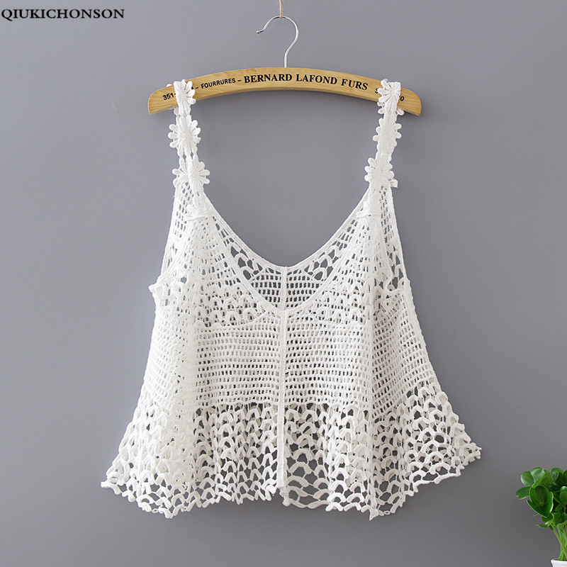Qiukichonson Crochet Lace Beach Sexy Hollow Out Cotton Knitted Tanks 2019 Women Summer Lacing Short Tops Female