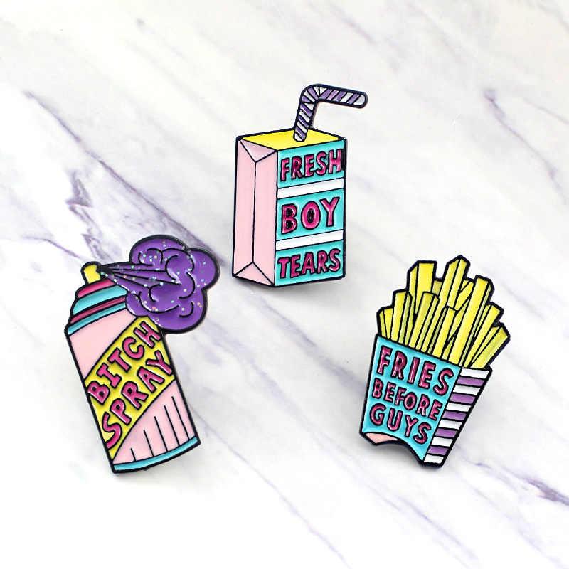 2019 cartoon Fresh boy tears Fries before guys spray Enamel pin Pink purple Brooches Shirt Button badge Gift for women jewelry