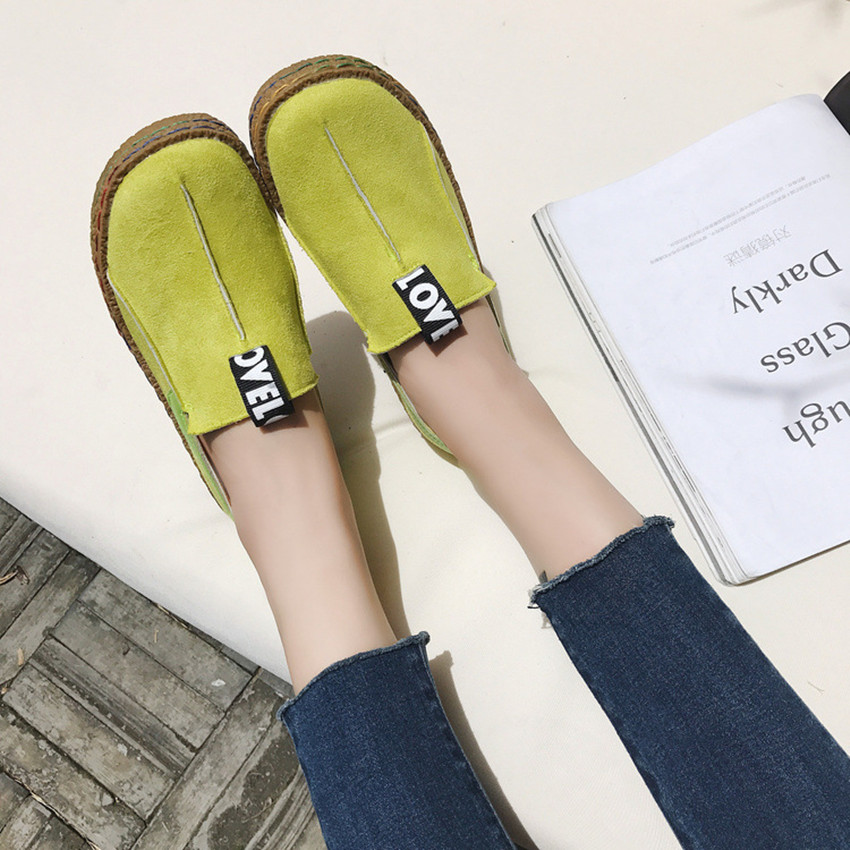 New women flats loafers casual fashion shoes for girls female slip on round toe comfortable sewing Lazy shoes black green brown