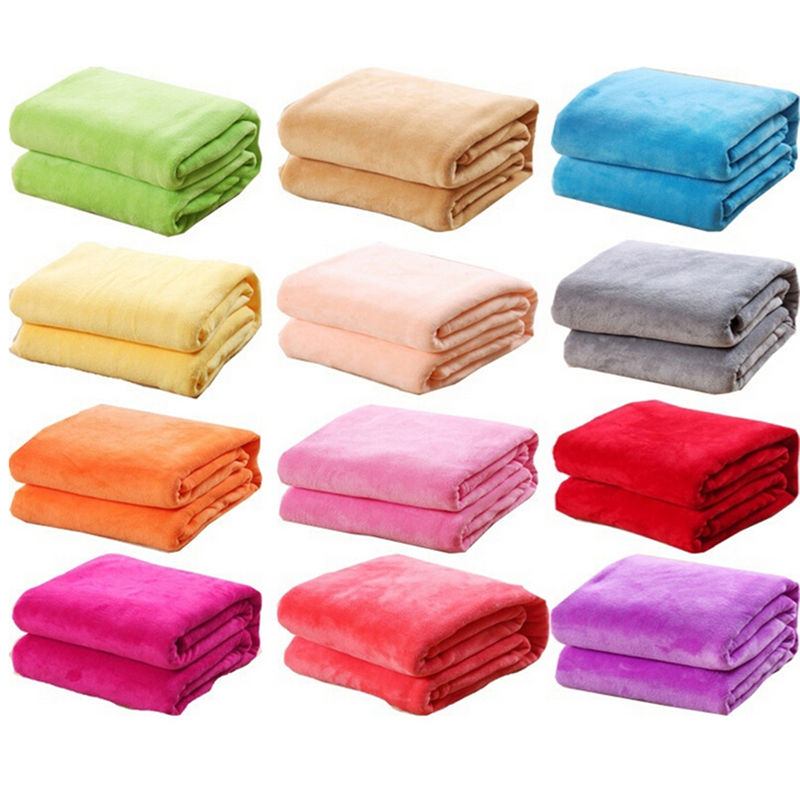 1 Pcs 50x70cm Washable Solid Color Bed Blanket Fleece Blankets For Bed Throw Blanket  Machine