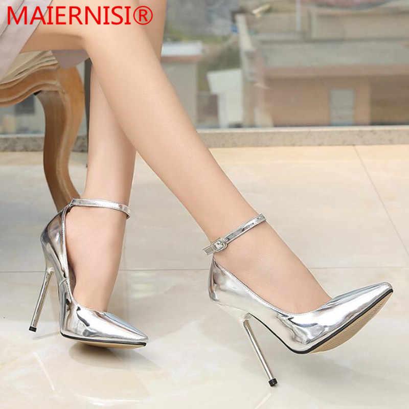 e046041261c Women Pumps Wedding Shoes Buckle Women Pointed Toe 13CM High Heels Fashion Sexy  Shoes Business Working
