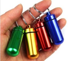 Small metal container aluminum pill box Case holder keychain medicine packing bottle store pills or small items