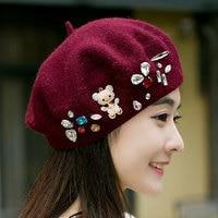 Beckyruiwu Women Rhinestone Bear Wool Hats Lady Autumn And Winter Knitted Painter Caps High Quality Women
