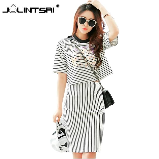 White Striped Tracksuit 2016 Crop Top And Skirt Set Slim Casual 2 Piece Set Women Summer Conjunto Feminino Suit Women
