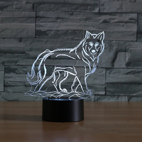 Wilk Kształt Tabeli Lampy LED 3D Snu Dziecka Lampka nocna dzieci Sypialnia Oprawy Światła Atmosfera USB 7 Kolorowe Zwierząt Wystrój prezenty