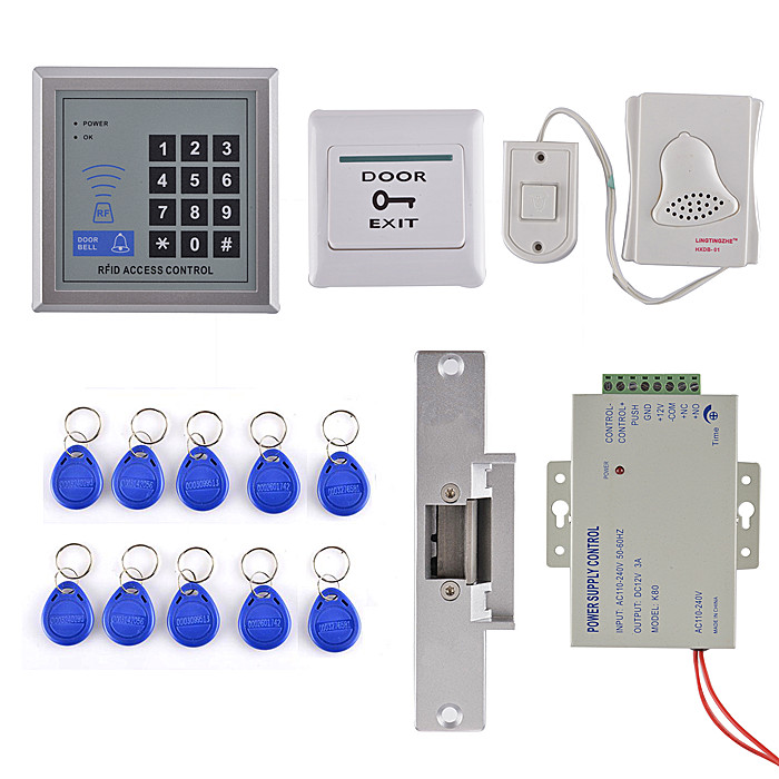 ID Card 125KHz RFID Reader Password Keypad Door Access Control System Kit Strike Lock For Office / House