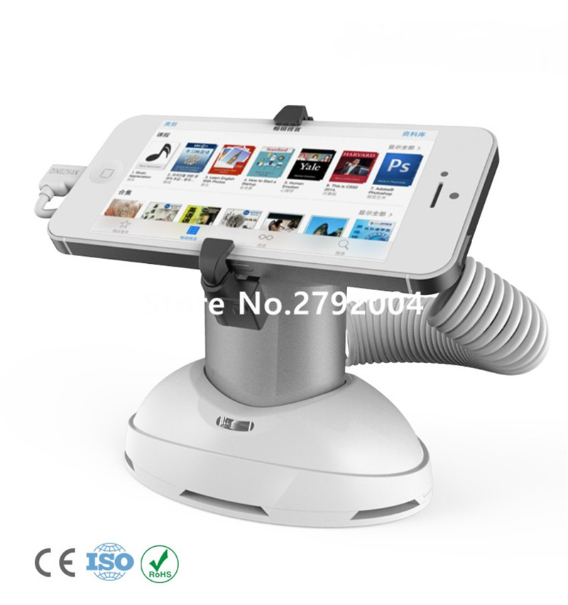 5 set/lot white and slivery color remote control cellphone tablet retail shop alarm security stand with adjustable clamp
