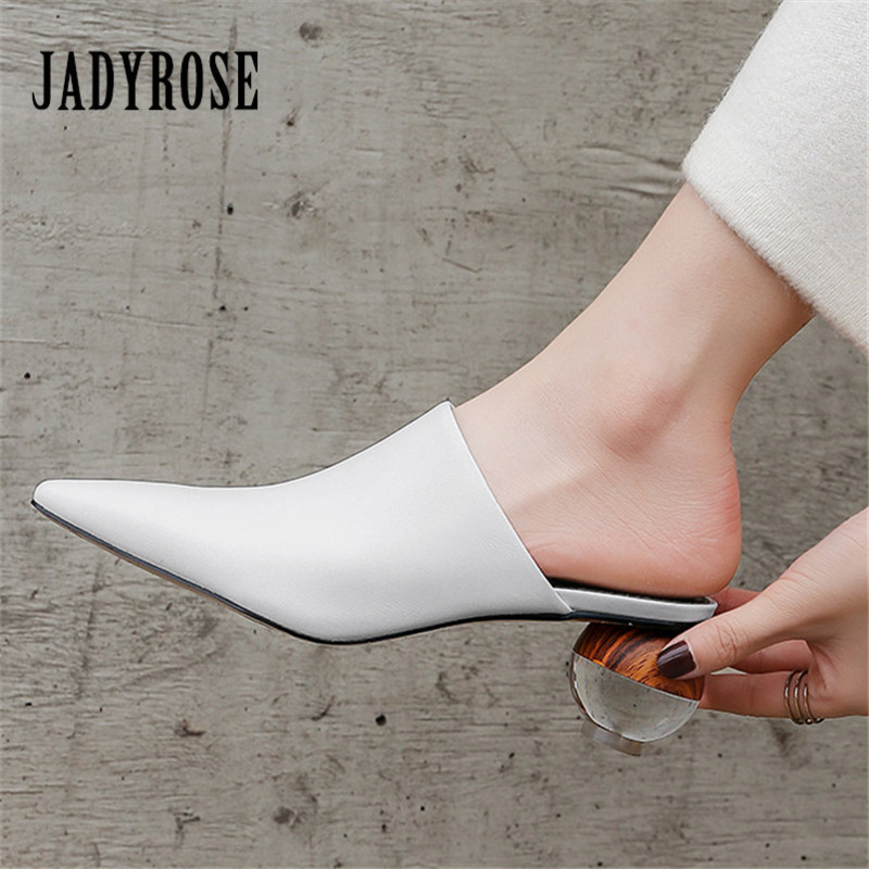 Jady Rose Fashion Mules Shoes Pointed Toe Women Pumps Genuine Leather Slippers Ball Heel Ladies High Heel Sexy Dress Shoes WomanJady Rose Fashion Mules Shoes Pointed Toe Women Pumps Genuine Leather Slippers Ball Heel Ladies High Heel Sexy Dress Shoes Woman