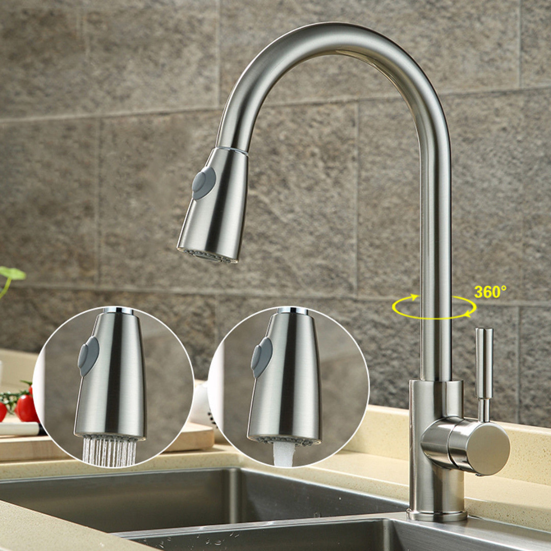 цена на 360 Degree Swivel Hot&Cold Water Mixer Tap Pull Out Faucet Spray Sink for Kitchen Basin