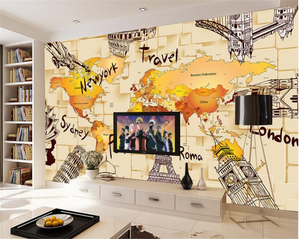 Home interior interior decoration 3d wallpaper 3d stereo retro world ...