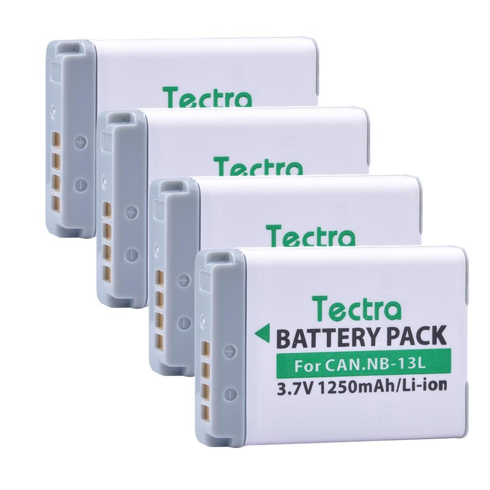 Tectra 4PCS/PACK NB-13L NB 13L 3.7V/1250mAh camera battery for Canon PowerShot G5X G7X G9X G7 X Mark II SX720 HS цена