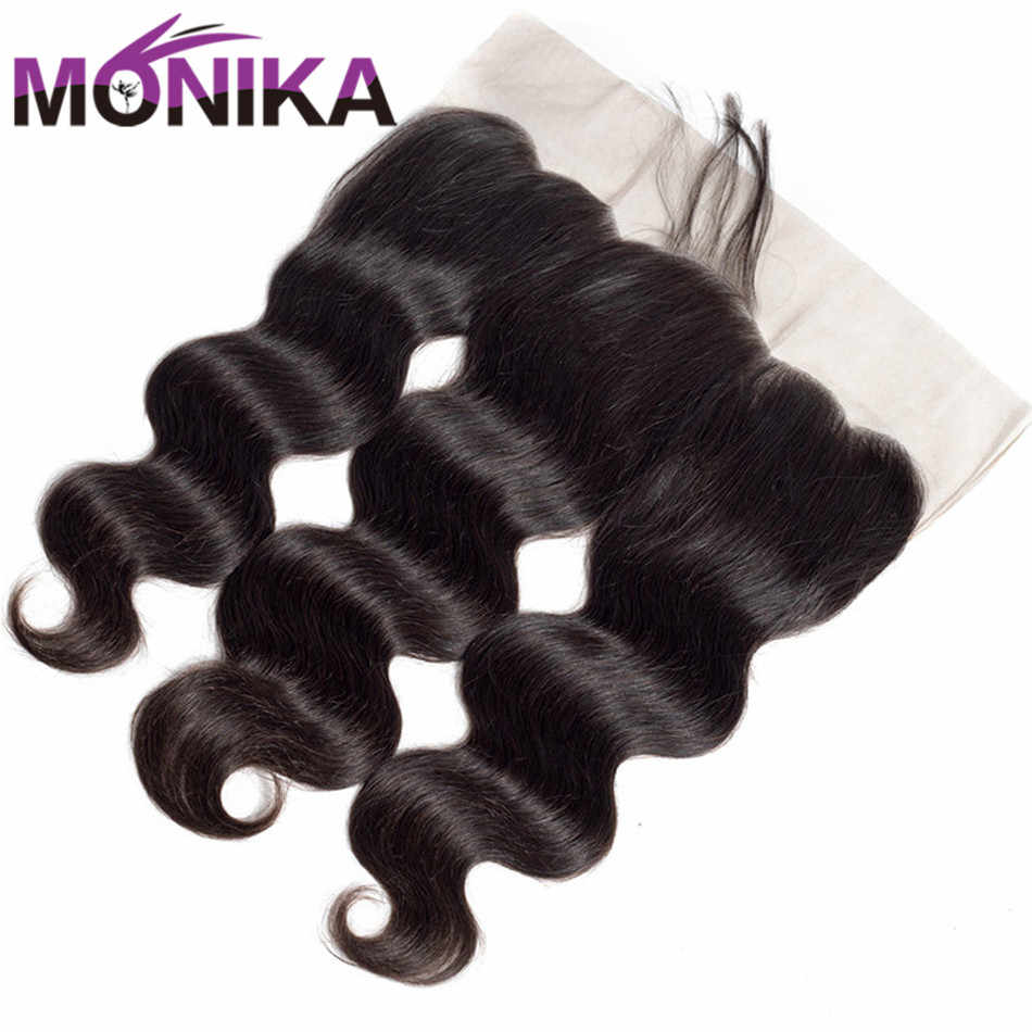 Monika 13x4 Pre Plucked Full Lace Frontal Closure With Baby Hair Brazilian Body Wave Ear to Ear Lace Closure Non Remy Human Hair