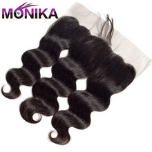 Monika 13x4 Pre Plucked Full Lace Frontal Closure With Baby Hair Brazilian Body Wave Ear to Ear Lace Closure Non Remy Human Hair(China)