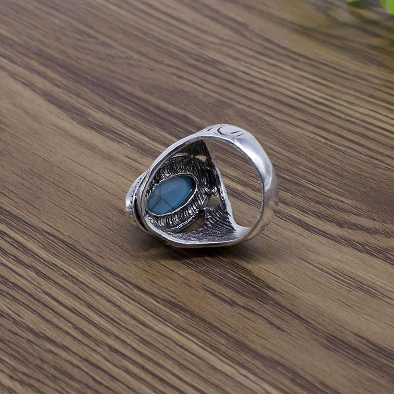 2018 ใหม่เครื่องประดับโบราณโบราณเงิน Turquoises แหวนสำหรับชายทิเบตผู้หญิงแหวนนิ้วมือ