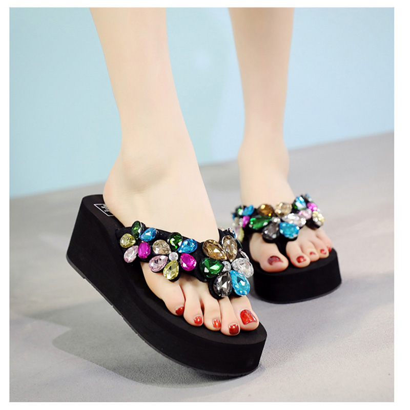 New Fashion Summer Flower Crystals Flip Flop Anti-Slip Shoes Women Slippers Outdoor Beach Casual Shoes стоимость