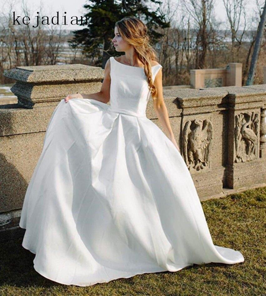 1ddd325a736 Luxury Ivory Stain Wedding Dresses 2018 Floor-Lenth Court Train Bridal Gown  wedding gown Vestido